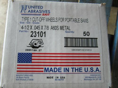 "United Abrasives Saint 23101 Type 1 Cut Off Wheels 4-1//2/"" X .045 X 7//8/"" NEW 50"