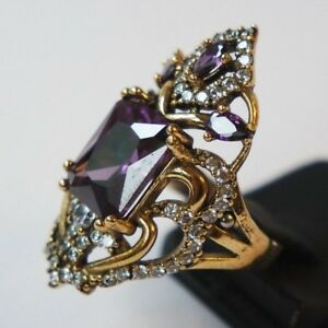 925-Sterling-Silver-Handmade-Authentic-Turkish-Amethyst-Ladies-Ring-Size-6-9