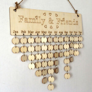 panneau de rappel d 39 anniversaire de bois feuillet bouleau calendrier bricolage ebay. Black Bedroom Furniture Sets. Home Design Ideas