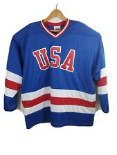 Adult Sizes USA 1980 Olympic Miracle on Ice Away Blue Hockey Jersey