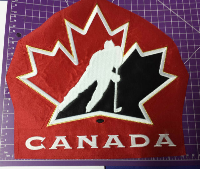 Red TEAM CANADA OLD LOGO front jersey embroidered pre-use trimming patch crest