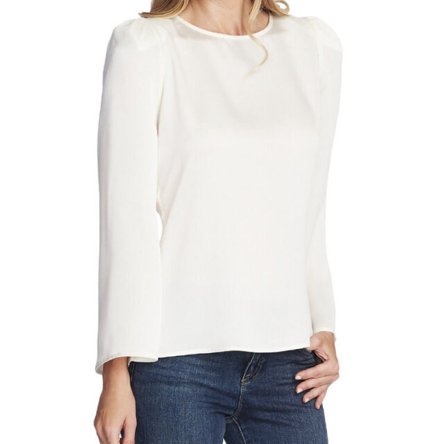 Vince Camuto Women's Top White Ivory Size Medium M Hammer Blouse $89