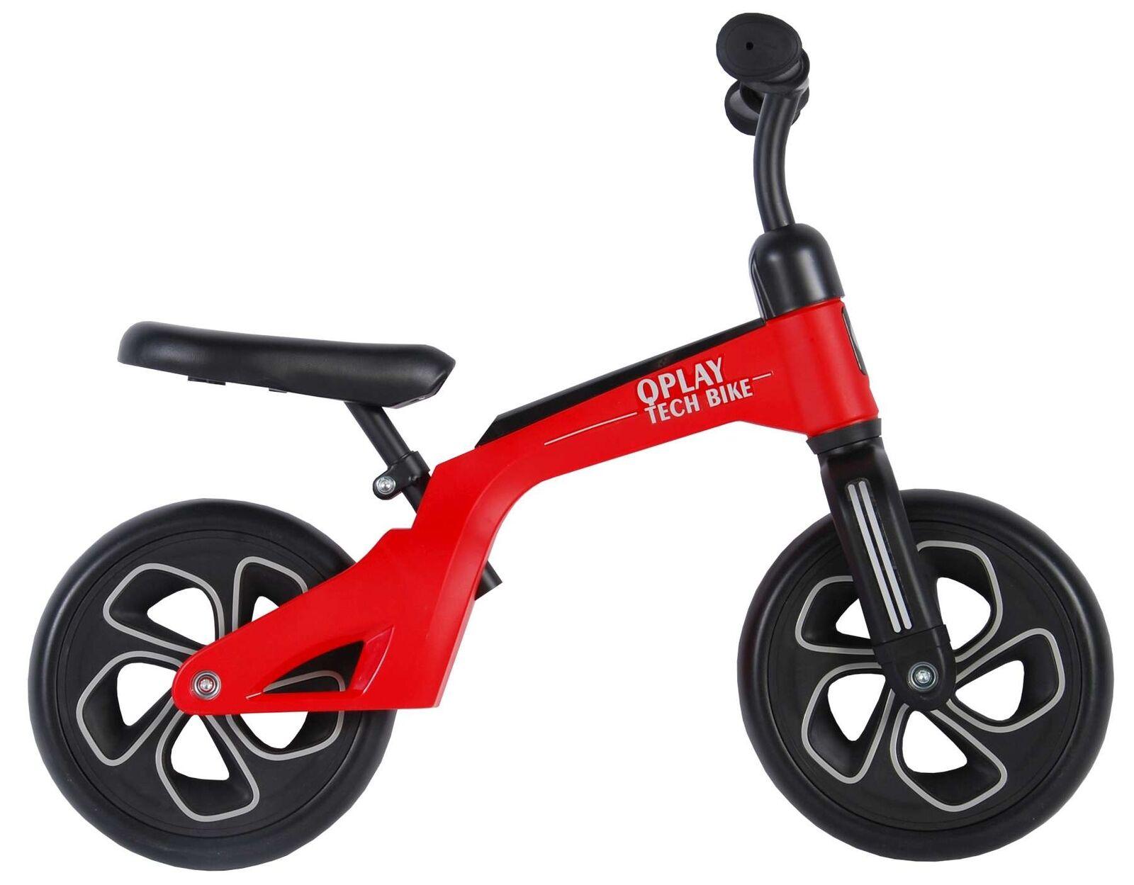 Kinder Laufrad QPlay Tech Bike 10 Zoll rot Sattel Lenker höhenverstellbar