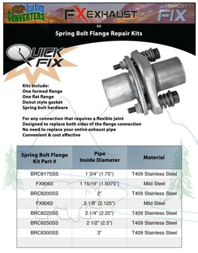 """BRC8250SS 2 1//2/"""" 2.5/"""" ID Stainless Exhaust Spherical Joint Spring Bolt Flange"""
