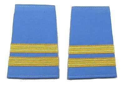 Epaulette Captain First Officer Pilot 2 Gold Bars on Light Blue Cloth R1707