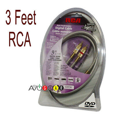 3' Feet RCA Audio CABLE 2-RCA Male to 2-RCA Male Cable Ideal for 2 1 feet 24K