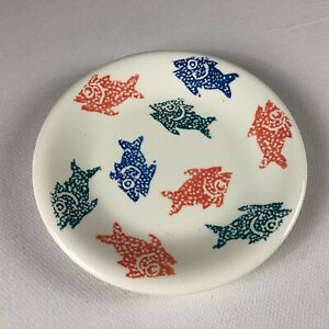 La-Primula-Fish-Side-Plate-8-034-Italy-Made-Colorful-Italian-Red-Blue-Green-White
