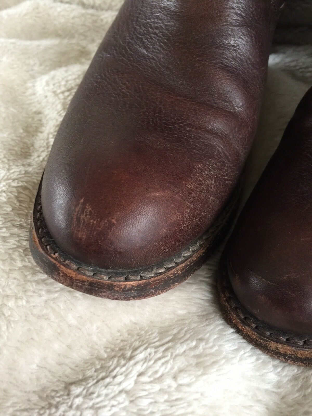 Frye Jane strappy 9.5 dark braun leather heel heel heel tall knee Stiefel GUC 1a7c03