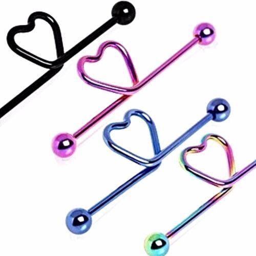14G Surgical Steel Love Heart Industrial Bar Scaffold Ear Barbell Ring Piercing