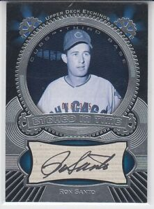 2004-Upper-Deck-Etchings-Black-375-Autograph-Ron-Santo-Chicago-Cubs-HOF