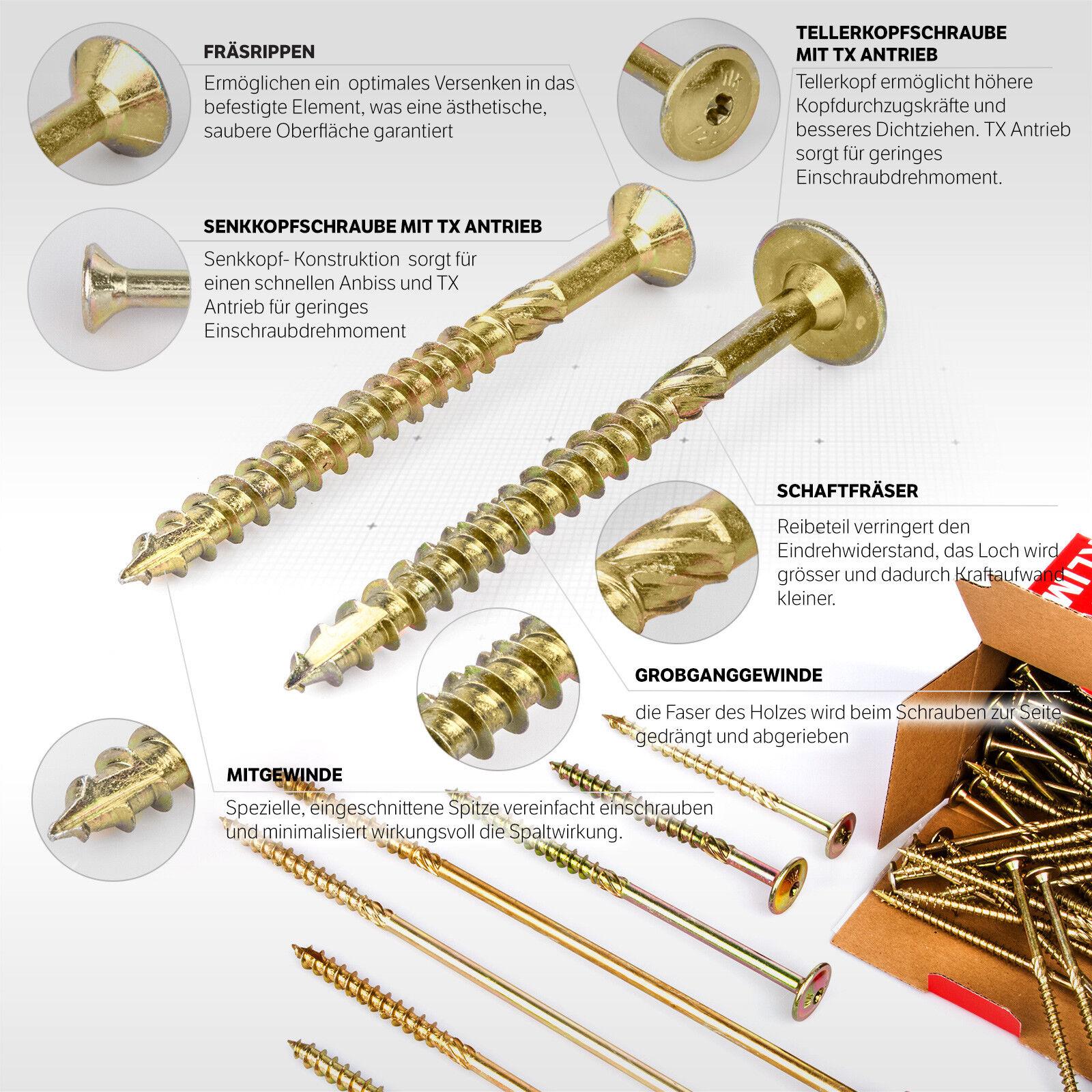 8mm Tellerkopfschrauben Holzbauschrauben Holz Schrauben Torx Holzbau 80 - 300mm