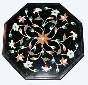 Black Marble Coffee Top Table Marquetry Malachite Leaf Floral Inlay Art Dec B517