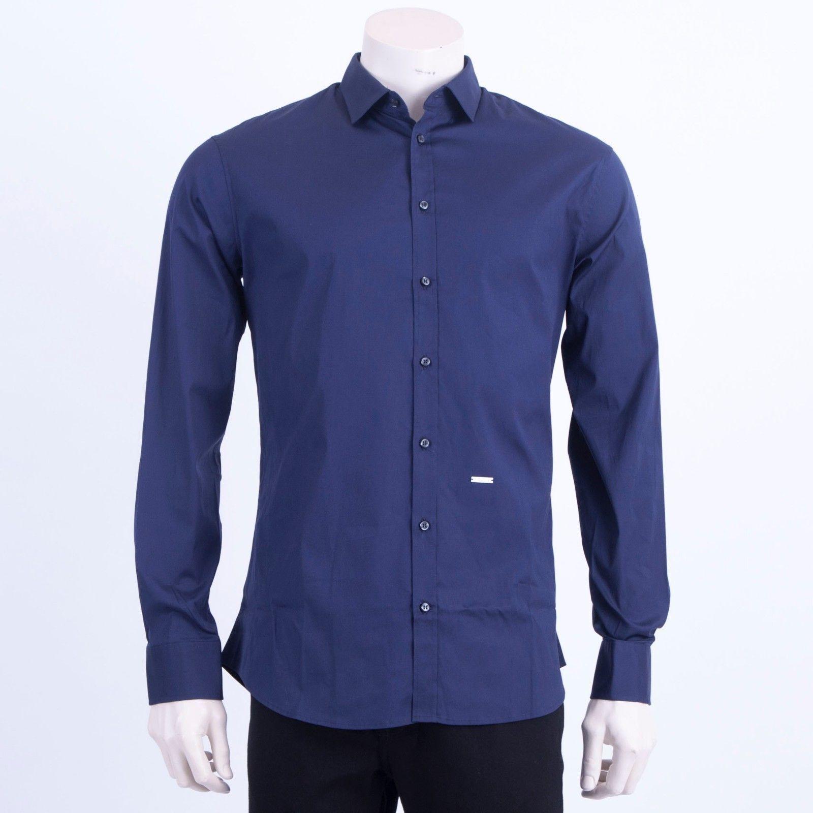 295  DSQUARED2 Classic bluee Stretch Cotton Longsleeve Dress Shirt