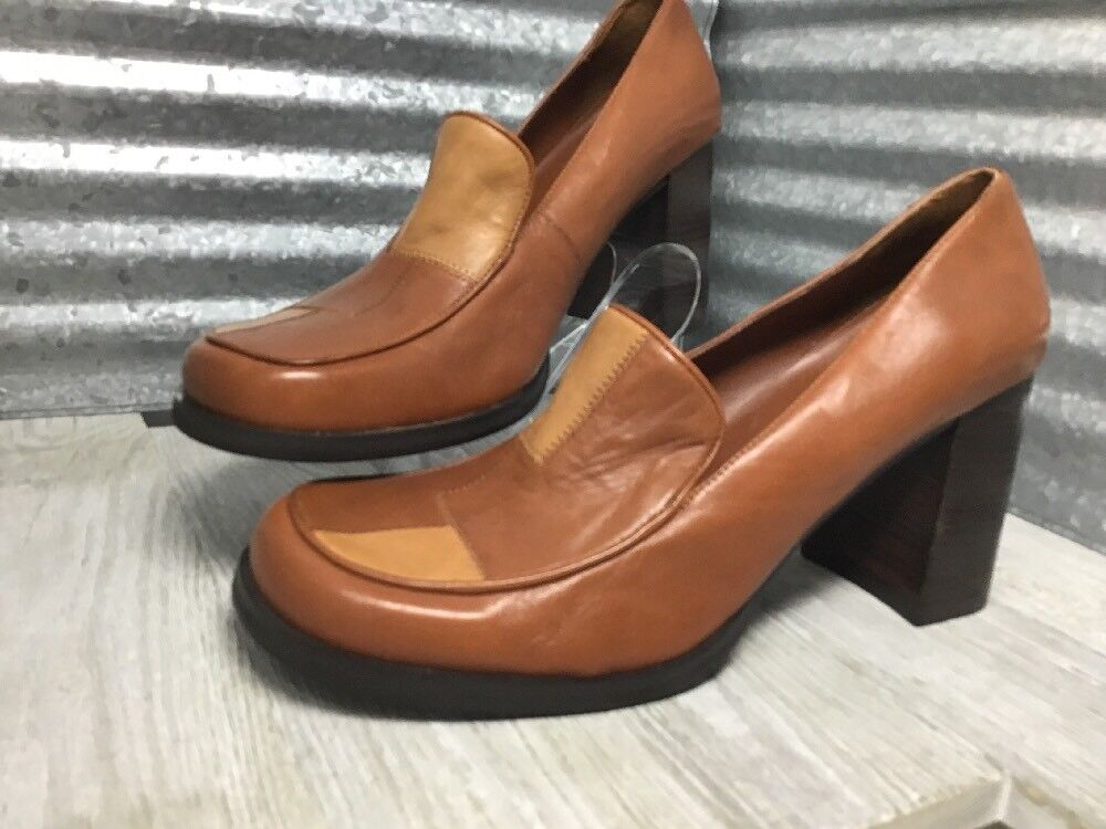 Unlisted Leather Vintage Retro patch slip on 70's 70's 70's Chunky Wedge Heel Brown Sz 10m c72c49