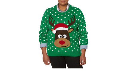 Laura Scott Women's REINDEER GREEN Christmas Holiday Sweater SZ L | eBay