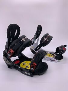 Burton-CARTEL-Black-amp-White-Snowboard-Bindings-Sz-Large-Unidisk-Set-Hardware