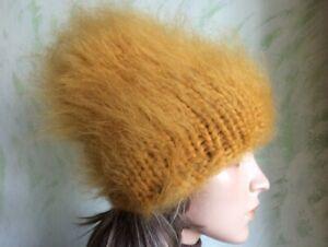 Hand Knitted Mohair Hat Beanie Saffron