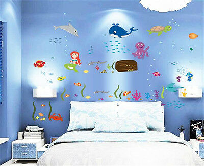 Ocean fish shark whale Home Room Decor Removable Wall Stickers Decal Decoration