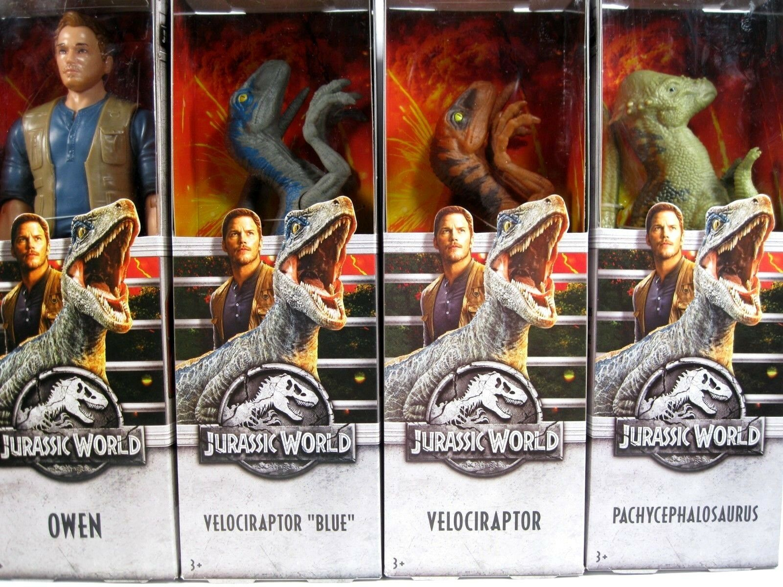 Jurassic World 4x Figure OWEN VELOCIRAPTOR Blau pachycephalosaurus dinosaur set