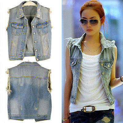 Women Lady Punk Frayed Cardigan Denim Jean Vest Waistcoat Jacket Coat Outerwear