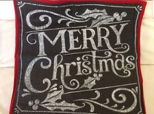 Pottery Barn Merry Christmas Pillow Cover 20x20 NWT Red Gray Chalkboard Linen