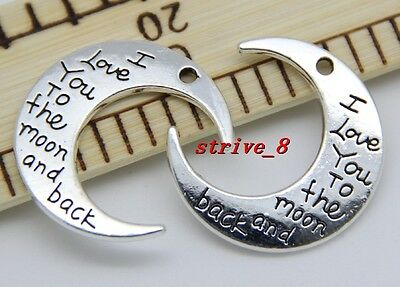 "10/50pcs Silver/Gold ""I LOVE YOU TO THE MOON AND BACK "" Charms Pendant DIY 30mm"