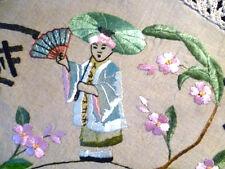 "RARE Antique c1910 Arts & Crafts / Society Silk Oriental Centre/ Cloth ~ 43"" Dia"