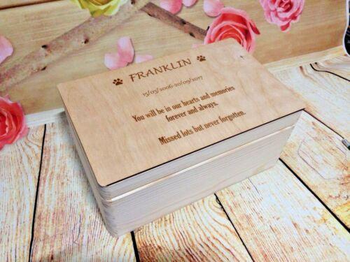 Personalised Pet cendres cercueil urne Keepsake Box Memorial CASE Chien Chat Hamster