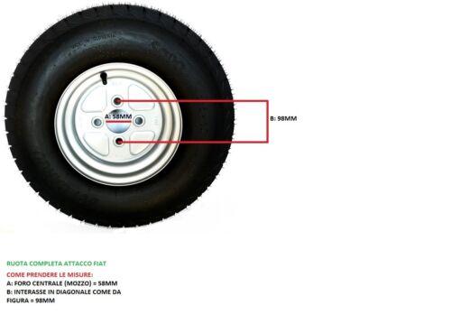 RUOTA COMPLETA PER CARRELLO E RIMORCHIO 195//50//10 E 18X8.0X10 98N ATTACCO FIAT