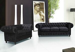 Black Velvet Chesterfield Sofas