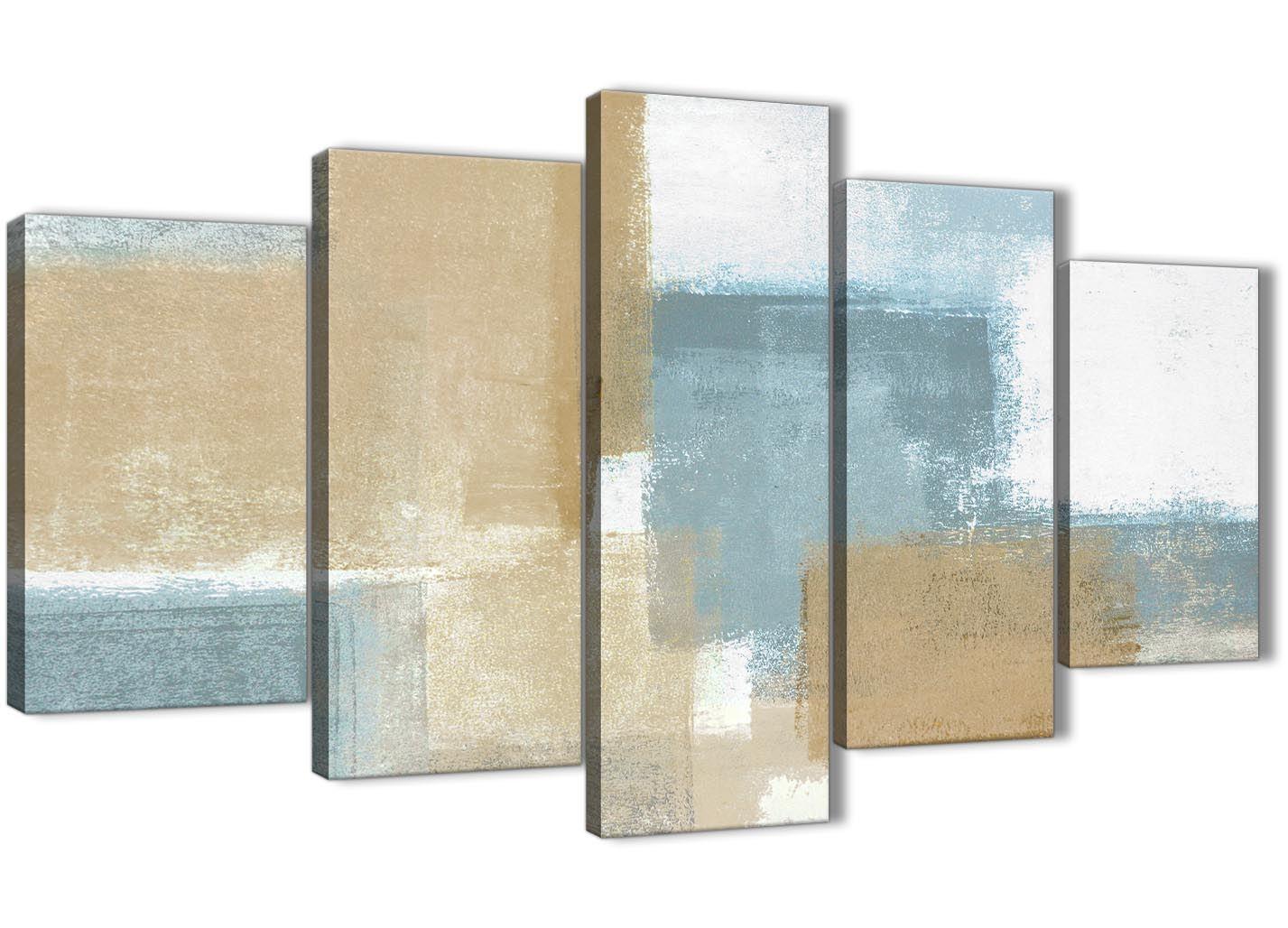 Pintura Abstracta XL Azul Beige Marrón de Impresión Impresión Impresión de lona-conjunto de 5 - 160 cm de ancho - 5350 c0b312