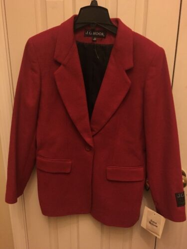 10 Blend Jacket Hook Bright Sz Red Blazer J Ny Uld Cashmere G vw7Sg