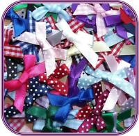 Mixed Colours Plain Satin, Gingham, Polka Dot 7mm Ribbon Bows Choose Pack Size