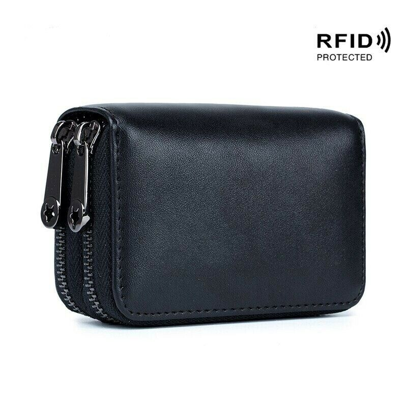 Fashion Simple Women Card Holder Genuine Leather Double Zipper Rfid Cards Wallet