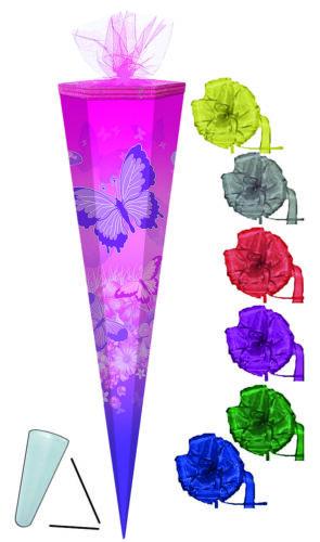 50 // 70 // 85 cm Schultüte incl mit // ohne Kunst SCHLEIFE Schmetterlinge