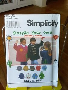 Oop-Simplicity-Design-your-Own-9303-childs-jacket-duffle-applique-sz-3-6-NEW