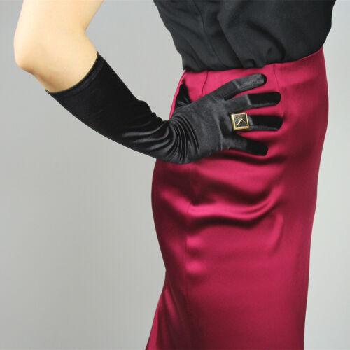 Stretchy Satin Silk Gloves Opera Evening Elbow Wrist Long Short Hepburn Black