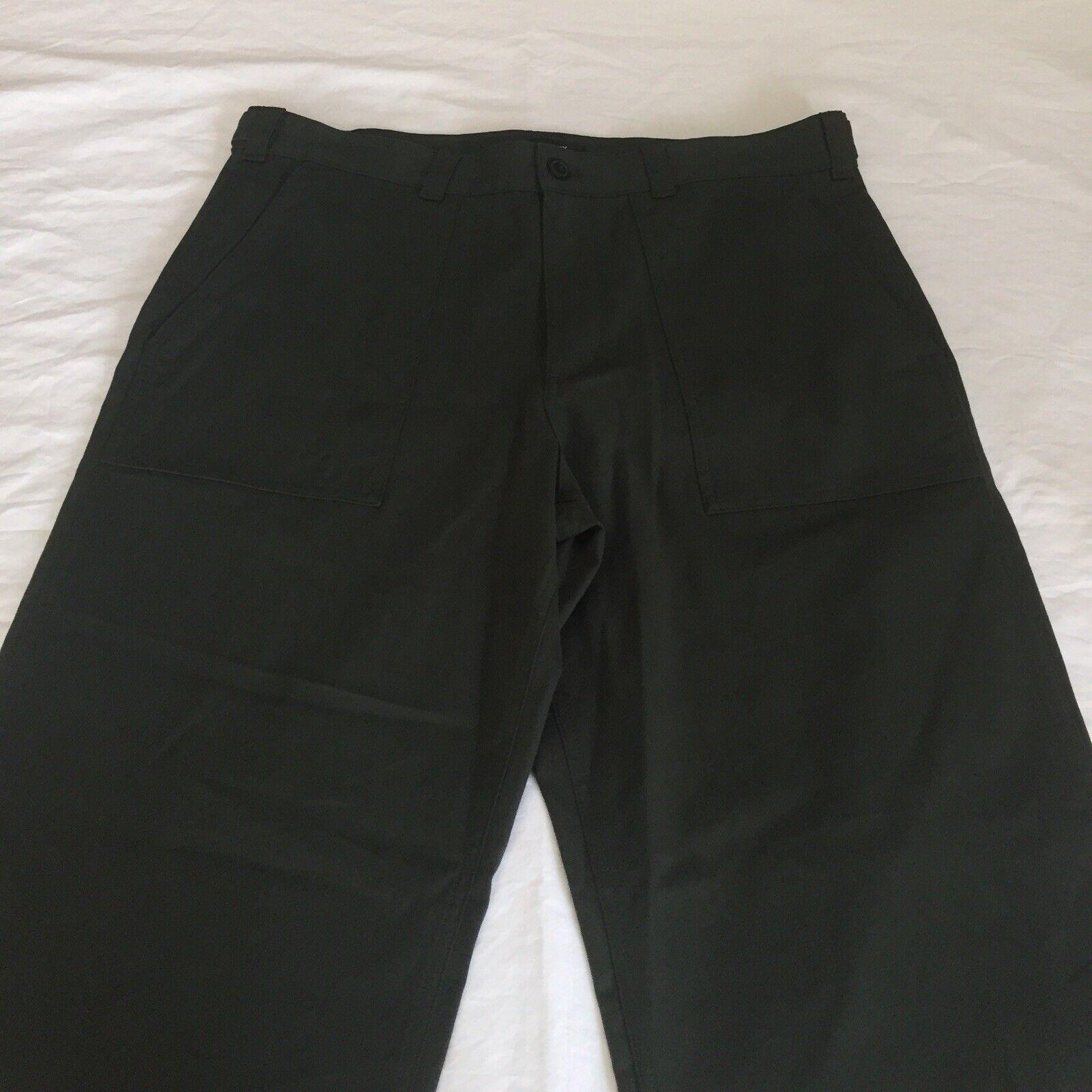 Theory Solid Modern Fatigue Canvas Pants Dark Green Straight Leg Mens 36
