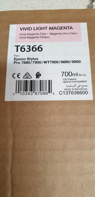 Genuine Epson T6366 Vivid Light Magenta Stylus Pro 7700 7890 7900 9700 9890 9900