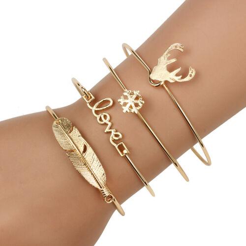 New 4pcs Stainless steel Opening Bracelet Set Fashion Jewelry
