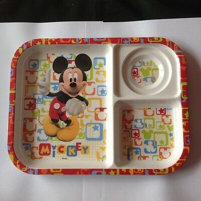 Lovely Mickey Mouse Melamine 3 Parts Divided Plate For Kids Cups, Dishes & Utensils Baby