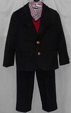 Boys 4 (4 piece) navy sport coat; dress pants; button shirt; sweater vest