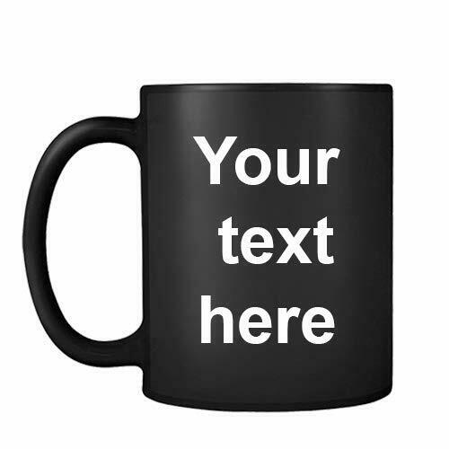 Personalised with Your own Text Themed 11oz Black Satin Mug Christmas Gift Mug.