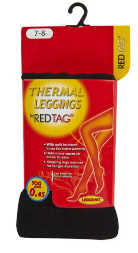 REDTAG Girls Black Thermal Leggings 0.45 Tog Black