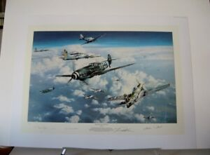 Headlong-into-the-Clash-P-51-B-17-Me109-Robert-Taylor-3-Signed-Aviation-Art