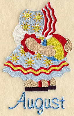 SUNBONNET SUE AUGUST ---MACHINE EMBROIDERED QUILT BLOCK
