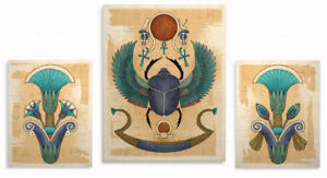 Image Is Loading Egyptian Art Prints Winged Scarab Lotus Wall Decor