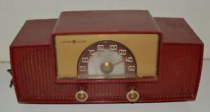 Vintage-Red-Mid-Century-General-Electric-Model-429-Tube-DIAL-BEAM-Radio-RARE
