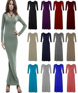 17f8a683283 Image is loading Womens-Plain-Flared-Stretchy-Maxi-Dress-Ladies-Long-