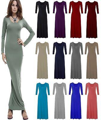 Womens Plain Flared Stretchy Maxi Dress Ladies Long Sleeve Long Jersey Dress Schnelle WäRmeableitung